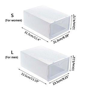 Image 5 - 6 pièces boîte à chaussures en plastique empilable pliable organisateur de chaussures tiroir mallette de rangement avec retournement porte claire dames hommes 33.5x23.5x13cm
