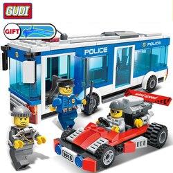 Gudi apto cidade polícia estação ônibus carro conjunto mini figuras 256 pçs blocos de construção educacional diy legoingly brinquedos para crianças