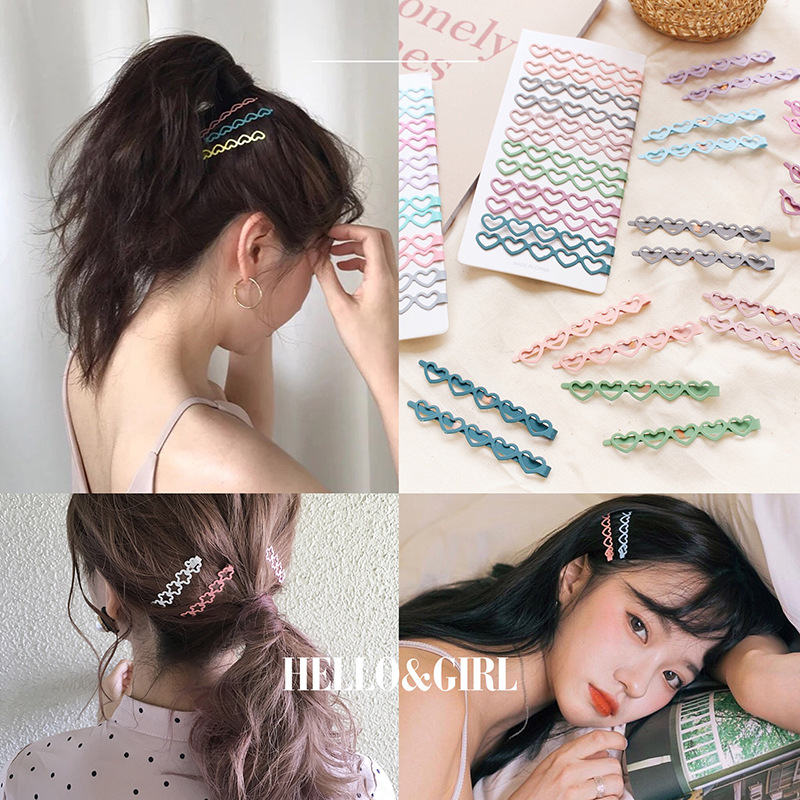 6.5cm Long Hair Clips Set Cute Color Bobby Pins Girls Heart Wave Kot Hairpins Women Girls Hair Accessories Big Metal Barrettes