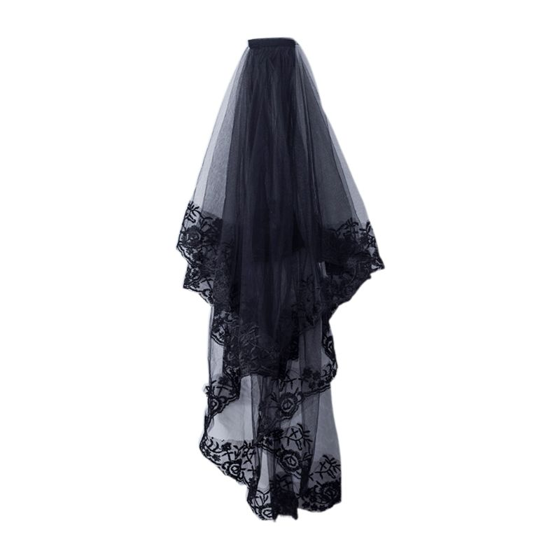 2-Tier Women Halloween Cosplay Costume Black Mantilla Wedding Veil Embroidery Floral Lace Sheer Tulle Hair Accessories With Comb