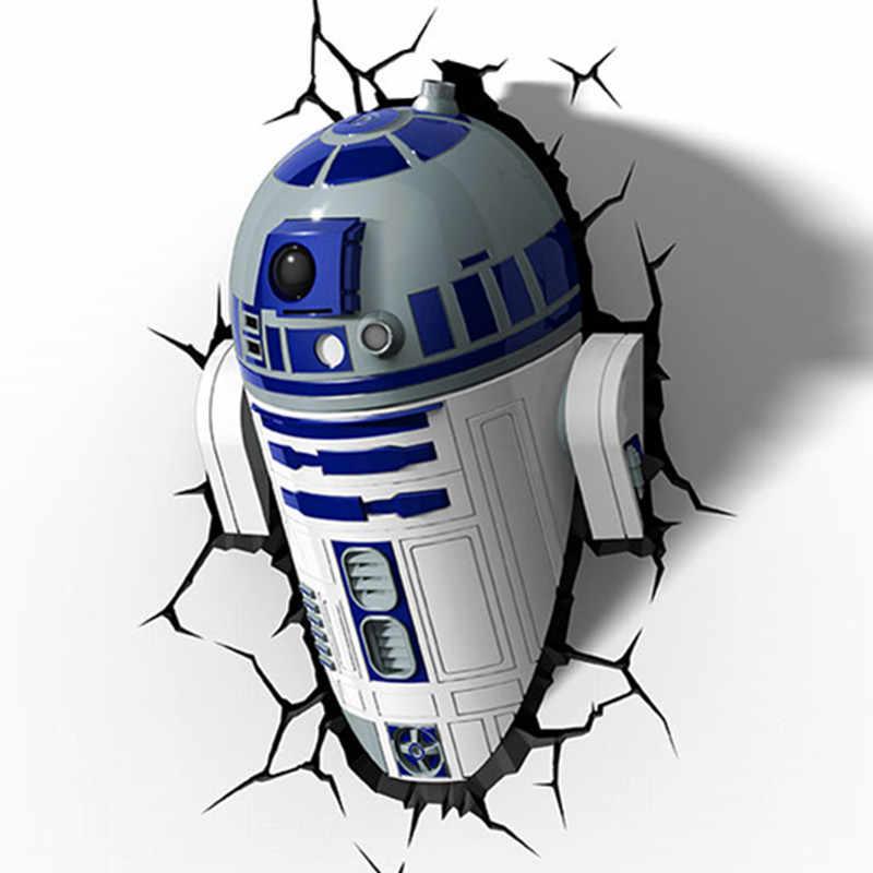 Disney Star Wars R2-D2 Robot 3D dekorasyon duvar lambası Modern çocuk odası karikatür başucu lambası X4858
