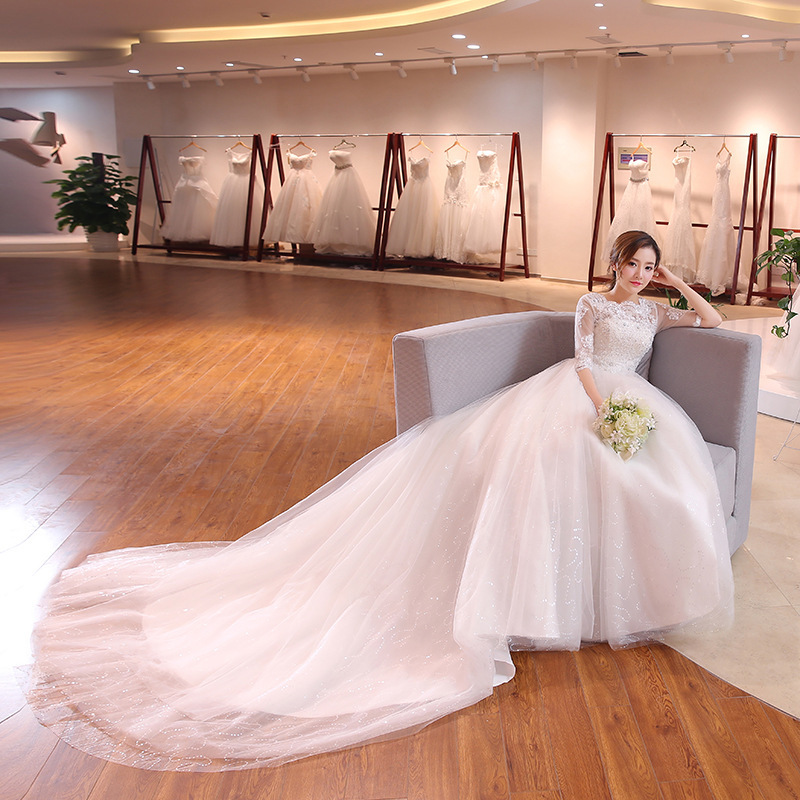 2020 Special Offer New Word Shoulder Long-sleeved Princess Long Trailing Bigger Sizes Can Be Customized The Bride Wedding Dress