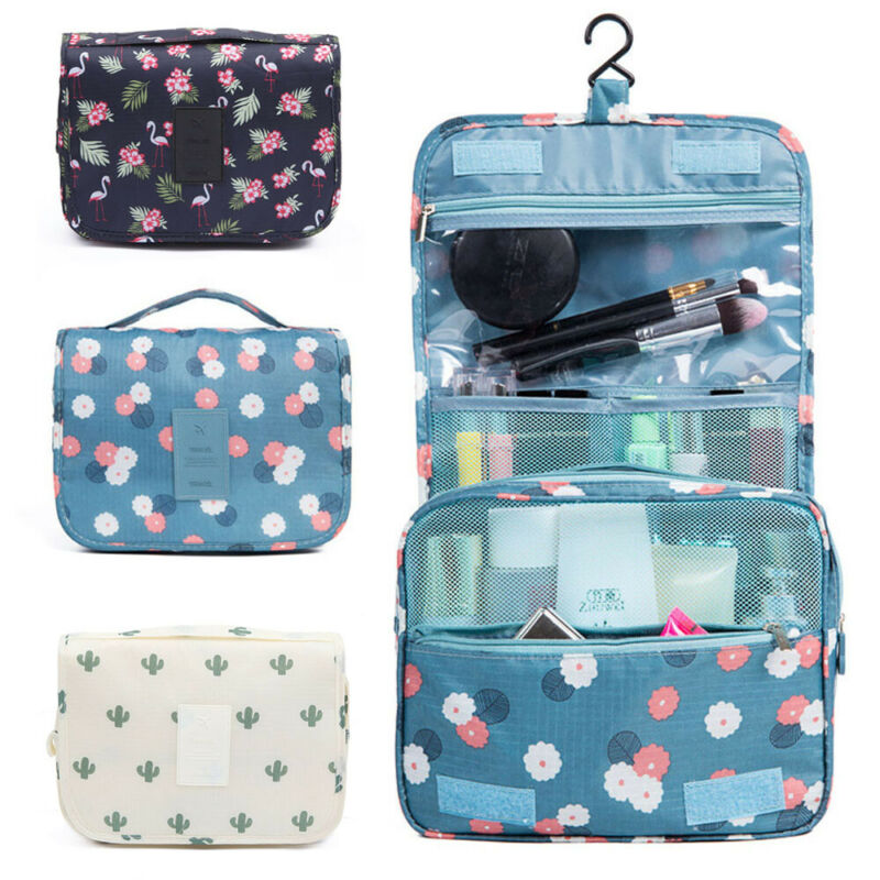 Cosmetic-Bag Organizer Hanging-Pouch Toiletry Travel Makeup Cactus Flamingo Storage Wash-Case