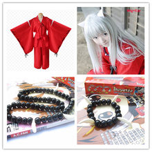 Costume Anime Inuyasha Cosplay Costumes Red Japanese Kimono Men Robe Costume Wigs Ears And Necklace Bracelet For Halloween Party(China)