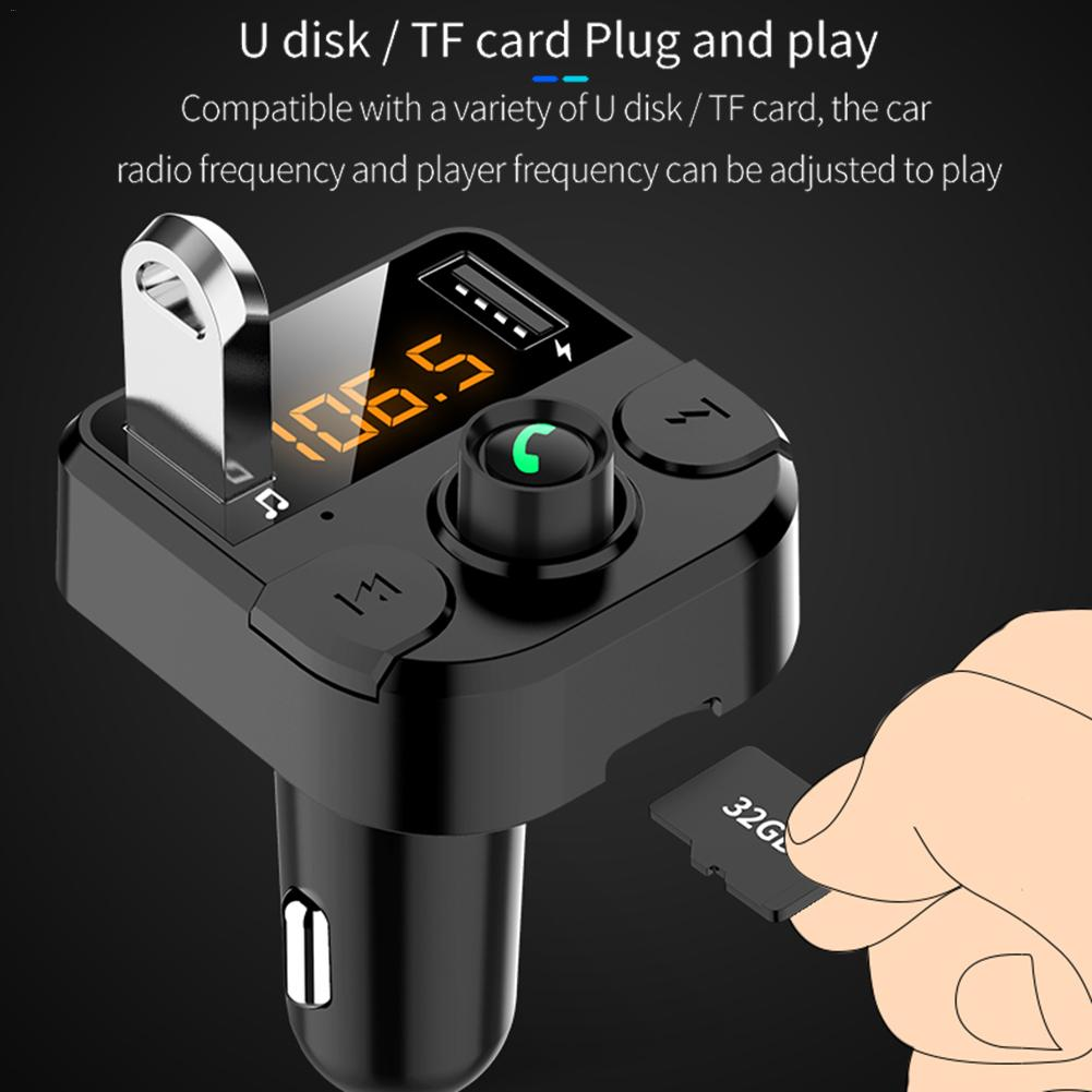 BT36B Dual USB Car Charger Wireless Bluetooth Radio Transmitter Hand-Free Call LCD Music Player TF Card Flash Drive AUX Adapter