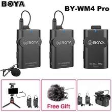 Boya – Microphone Lavalier professionnel sans fil wm4 pro K1/K2, 2.4 ghz, double canal, pour Canon, Nikon, Sony, DSLR