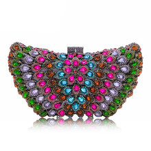 Red/Green/Blue Rhinestone Crystal Purple Clutch Bags XIYUAN Multi-Colored Women Diamond Chain Messenger Handbag Female Prom Purse(China)