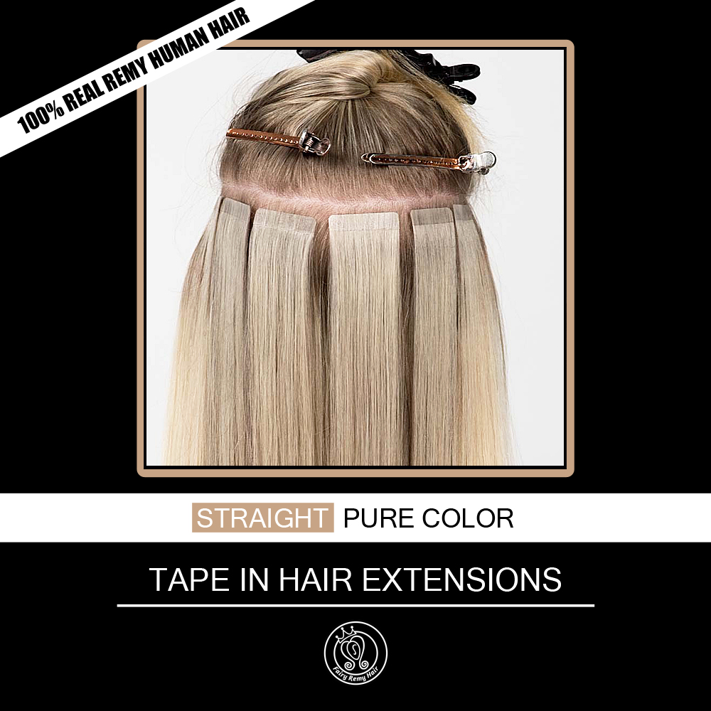 Tape In Human Hair Extensions Adhesive Invisible On Real Remy Hair Straight PU Skin Weft Extension 16-20 Inch 2.0g/pc 40g/pack