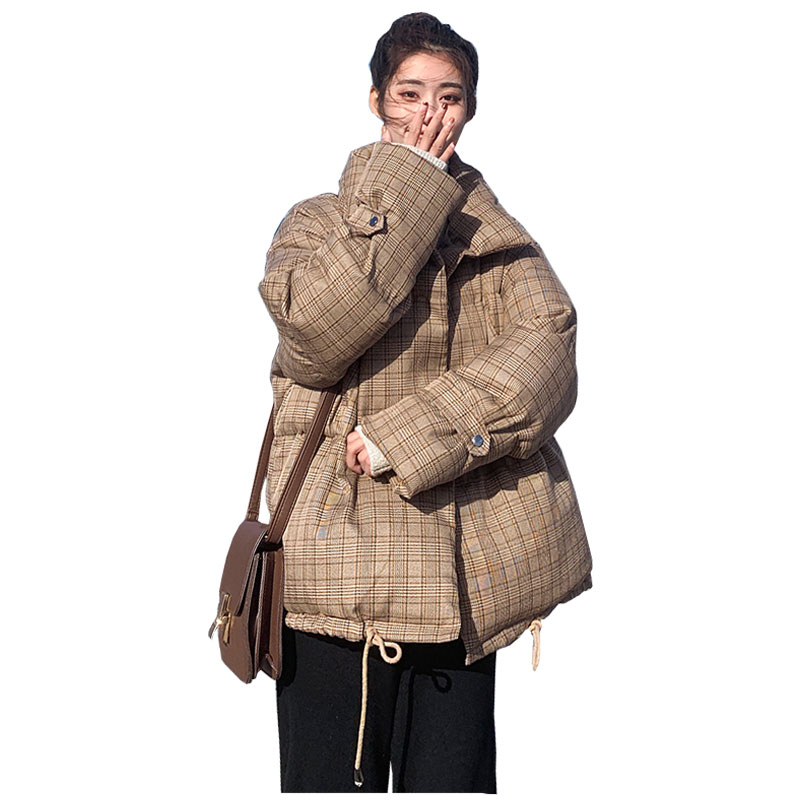 Short Loose Plaid Oversize Hooded Winter Down Coat Female Thick Warm Jacket Women Cotton Padded Wadded Parkas Big Pocket 33