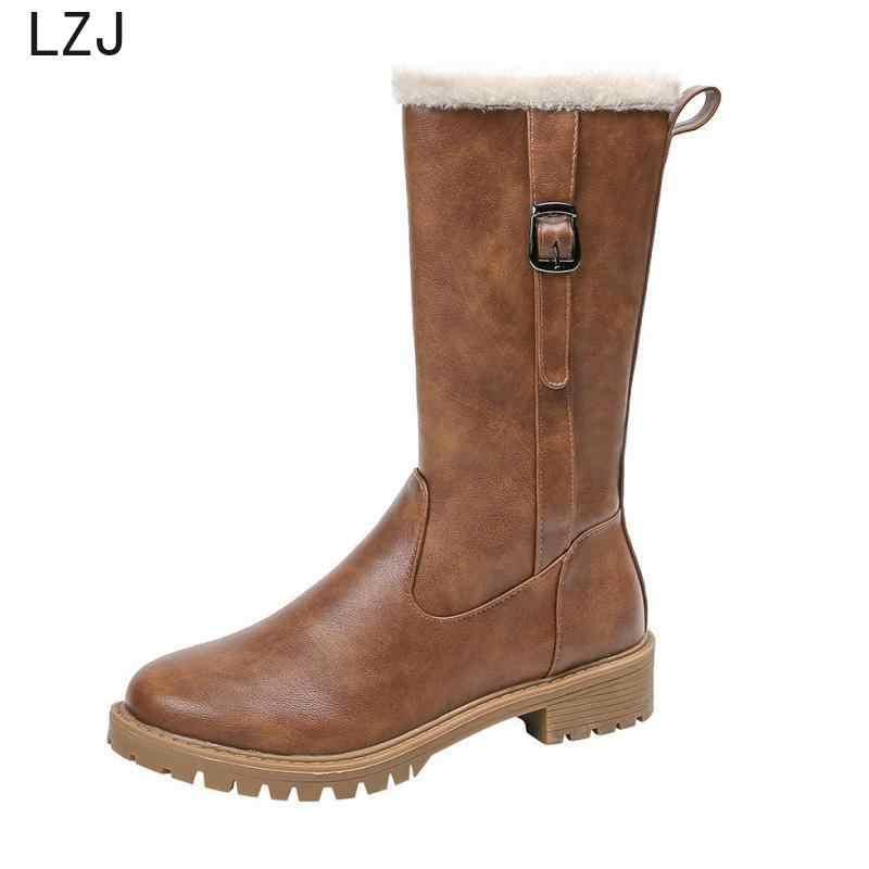 """Mới Đầu Gối Độ Phẳng Cao Giày Nữ Da PU Da Lộn Mờ Trơn Trượt Trên Zapatos De Mujer """"Chắc Chắn Đi Mùa Đông Giày Nữ size 42"""