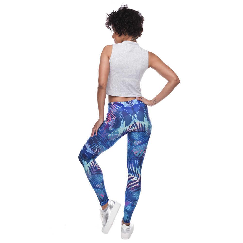 Nieuwe Mode Vrouwen Leggings Tropische Bladeren Afdrukken Blauwe Fitness Legging Sexy Silm Legins Hoge Taille Stretch Broek Broek