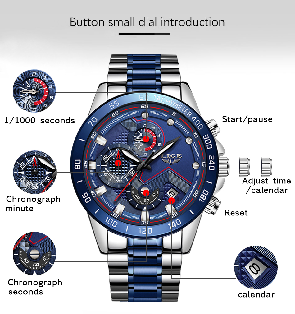 H55d596ed32b2487fbb95897051744a28v Relogio Masculino LIGE Hot Fashion Mens Watches Top Brand Luxury Wrist Watch Quartz Clock Blue Watch Men Waterproof Chronograph