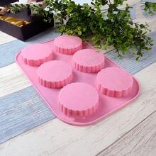 3d силиконовая форма для шести круглых лунных тортов мыла прессформа
