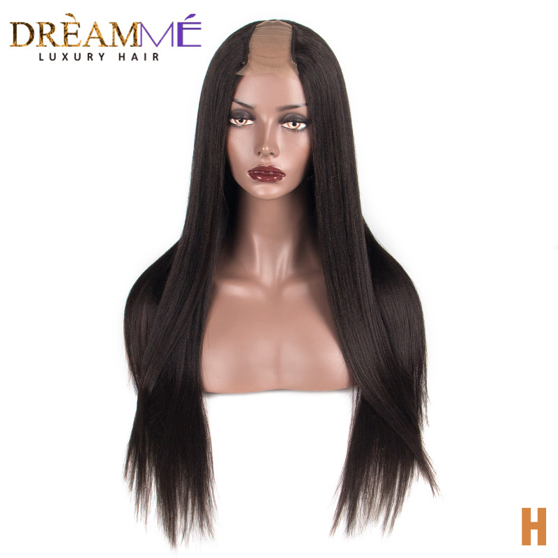 Coarse Yaki Human Hair Wigs Italian Light Yaki Straight U Part Wig Middle Openning 2*4 Brazilian Natural Remy Hair 150% Density