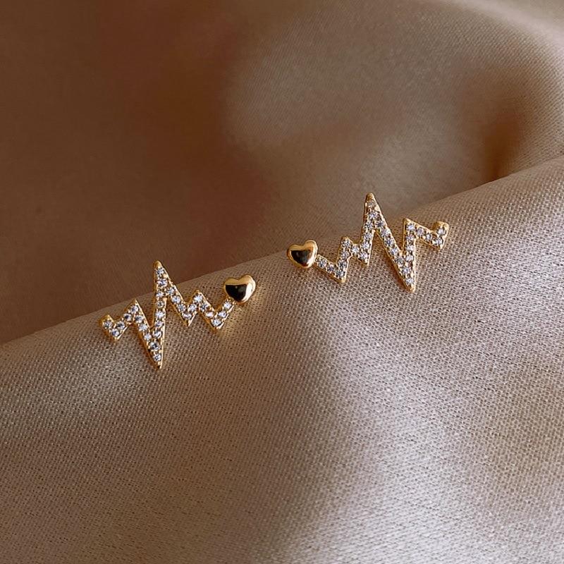 2020 new creative heartbeat stud Earrings Fashion Korean women's jewelry European and American classic zircon versatile Earrings