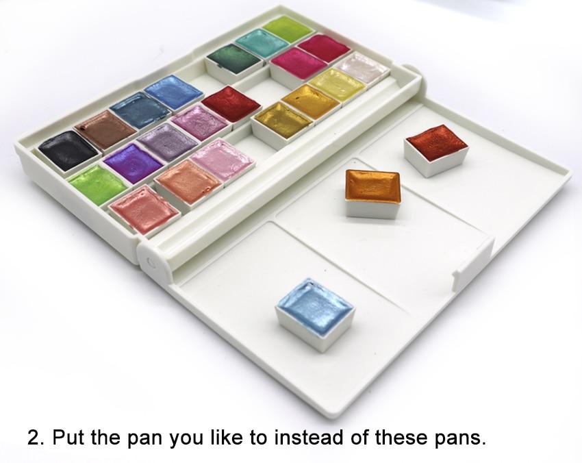 24 Colors Pearl Glitter Watercolor Paint Set Portable Pigment Solid Gold Metallic Paint Set Palette For Students