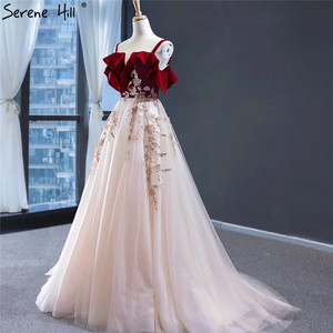 Image 3 - Wine Red Champagne Sleeveless Sexy Evening Dresses Handmade Flowers A Line Evening Gowns 2020 Serene Hill HM66998