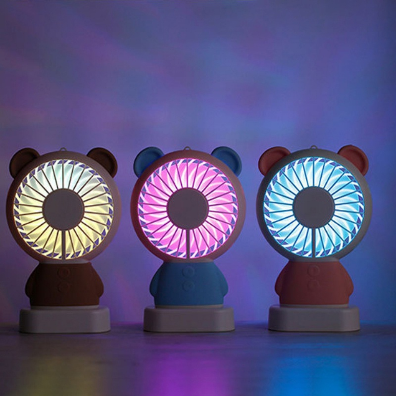 Color : Purple , Size : Free size Mini Portable Fan Mini Portable Handheld Fan Night Light With Rechargeable Battery 3 Speeds For Office Home Traveling Outdoor USB Fan for Travel Office