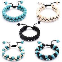 Lava Rock Emperor Stone Braided Rope Beads Bracelet Essential Oil Diffuser Natural Adjustable Double Row Couple Bracelets