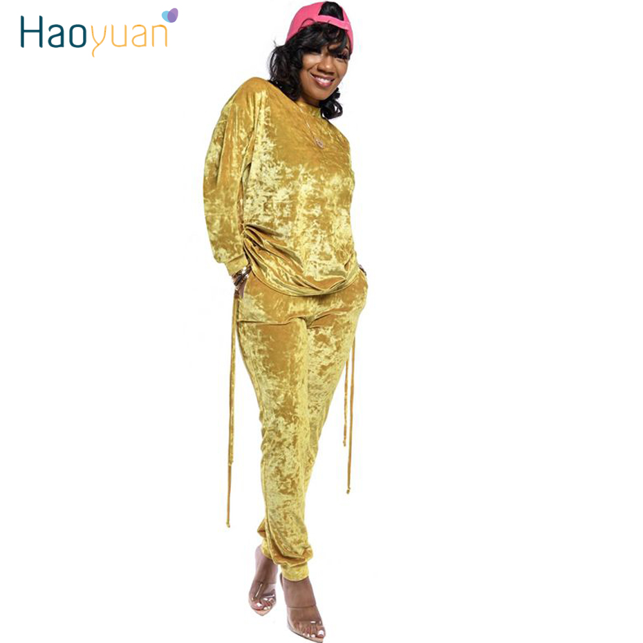 HAOYUAN Gold Velvet Two Piece Set Women Sweat Suits Autumn Winter Clothes Loose Top And Pants Velour Tracksuit Plus Size Outfits