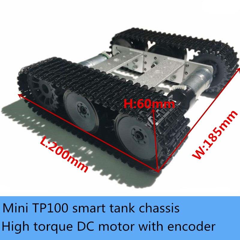 Unassembled Smart Crawler Robot Kit Mini TP100 Metal Tracked Tank Chassis Aluminum Panel High Torque Encoder Motor Education DIY