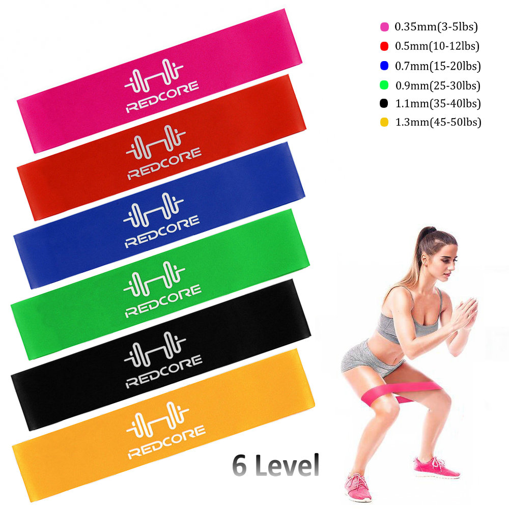 6 Level Resistance Exercise Loop Bands Home Gym Yoga Fitness Natural Latex Pull Up Strength Training Bands