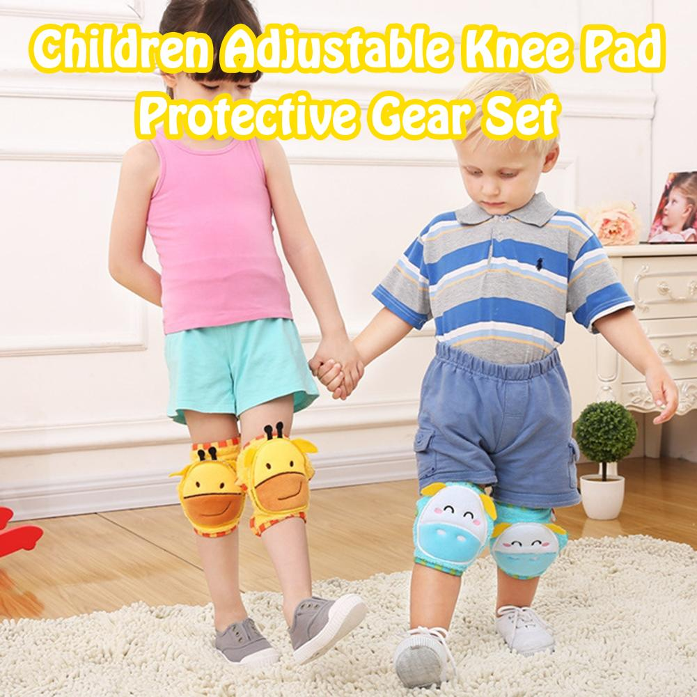 Child Washable Knee Pad Adjustable Protective Gear Set Cute Breathable Baby Crawling Knees Elbow Pads Kids Activity Accessories
