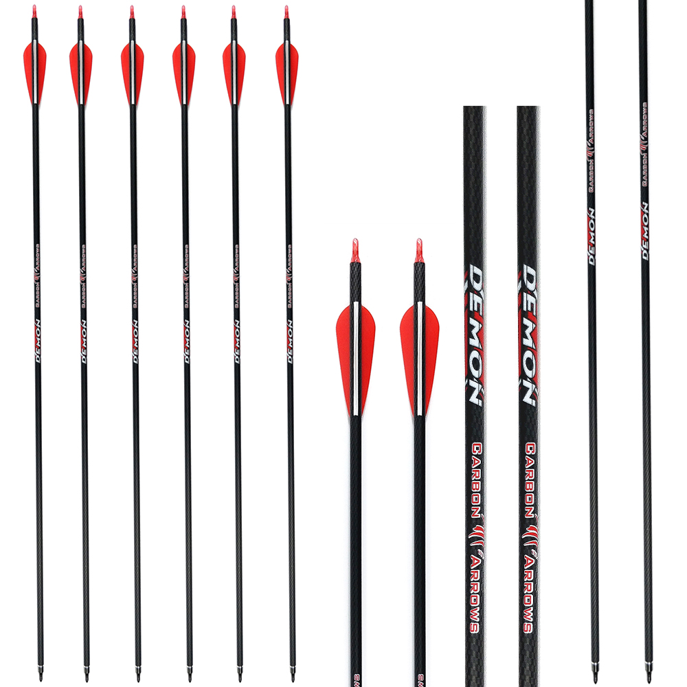 Carbon Arrows Hunting Target Archery Shooting Spine 340/600 with 100 Grain Field Tips for Compound Recurve Bows 6Pack/Lot