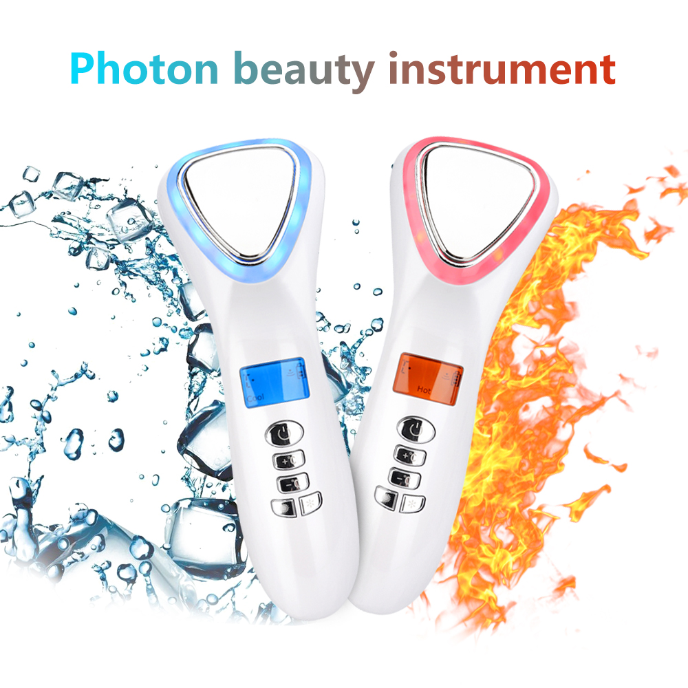 LED Face Lifting Ultrasonic Cryotherapy Hot Cold Hammer Light Photon Facial Machine Massager Face Tighten Wrinkle Remover Beauty(China)