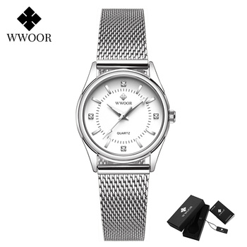 2020 WWOOR Fashion Brand Ladies Watches Luxury Diamond Rose Gold Women Bracelet Watch Elegant Dress Watch For Girls montre femme - White