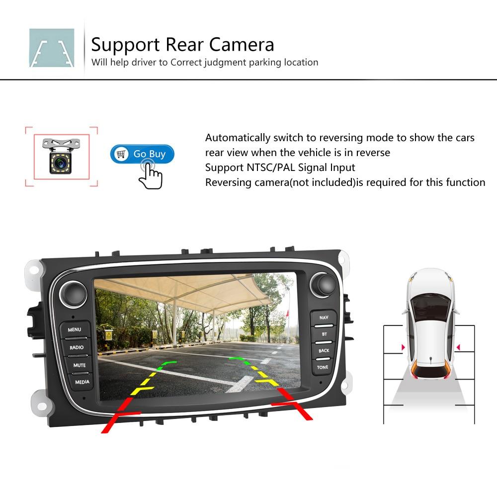 Podofo Android 8,1 gps автомагнитолы 2 Din Автомобильный мультимедийный плеер 7 ''аудио dvd плеер для Ford/Focus/S Max/Mondeo 9/Galaxy yc Max - 5