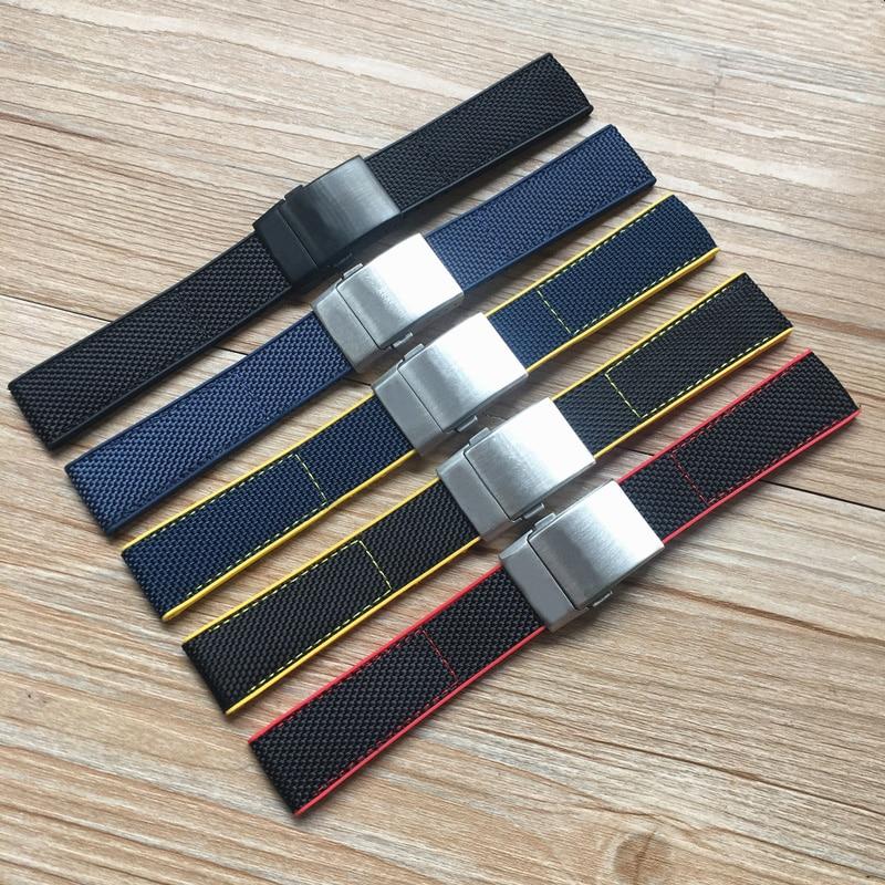 Top Quality 22mm Black Yellow Red Blue Nylon Rubber Watch Band For Breitling Strap NAVITIMER WORLD Avenger Navitimer Bracelet