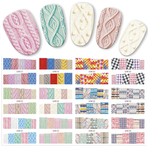 12pcs/set Beauty Sweater Cloth Pattern Sticker Water Transfer Nail Art Stickers Nails Decals Colorful Labels JIBN517-528(China)