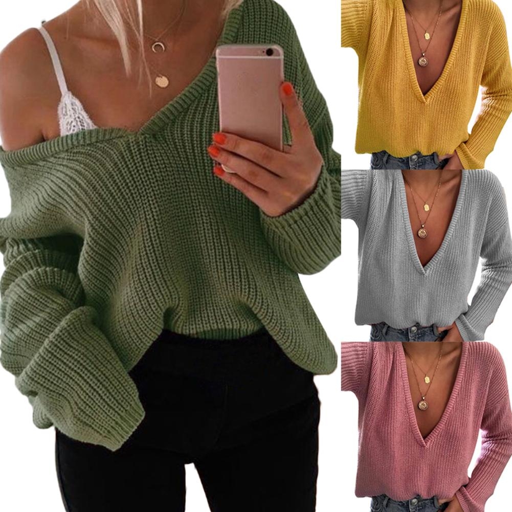 Women Casual Solid Color Deep V Knitted Sweater Jumper Long Sleeve Pullover  Women's Loose Nylon  Polyester Spandex Sweater S-XL