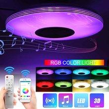 80W Música Luz de Teto Da Lâmpada LED RGB Lâmpada Do Teto Flush Mount Rodada Música APP bluetooth Speaker Inteligente Com Controle Remoto controle