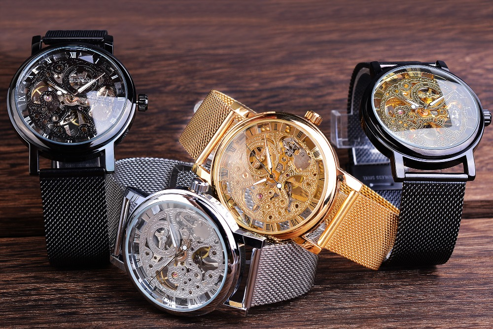 H55d6be9d85d74b75af57acaa07e42580E Winner Stainless Steel Mesh Band Transparent Classic Thin Case Hollow Skeleton Mens Male Mechanical Wrist Watch Top Brand Luxury