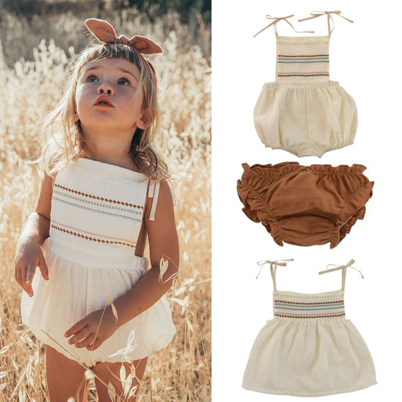 Liilu Beautiful Baby Girls Vintage Romper And Tshirt Baby Girl Lovley Linen Bubble Playsuit 2020 SS New Arrivals Kid T Shirt