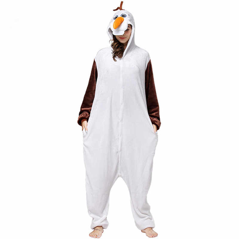 HKSNG 新成人動物雪だるまオラフ Onesies フランネルパジャマ漫画のコスプレ衣装パーティージャンプスーツクリスマスギフト着ぐるみ