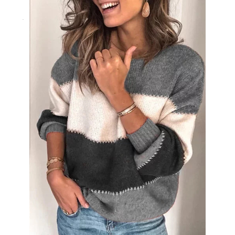 Women Pullovers Winter Jumpers Knitwear Casual Patchwork Sweaters Ladies Thick Warm Pullover Loose Plus Size Womens Sweaters