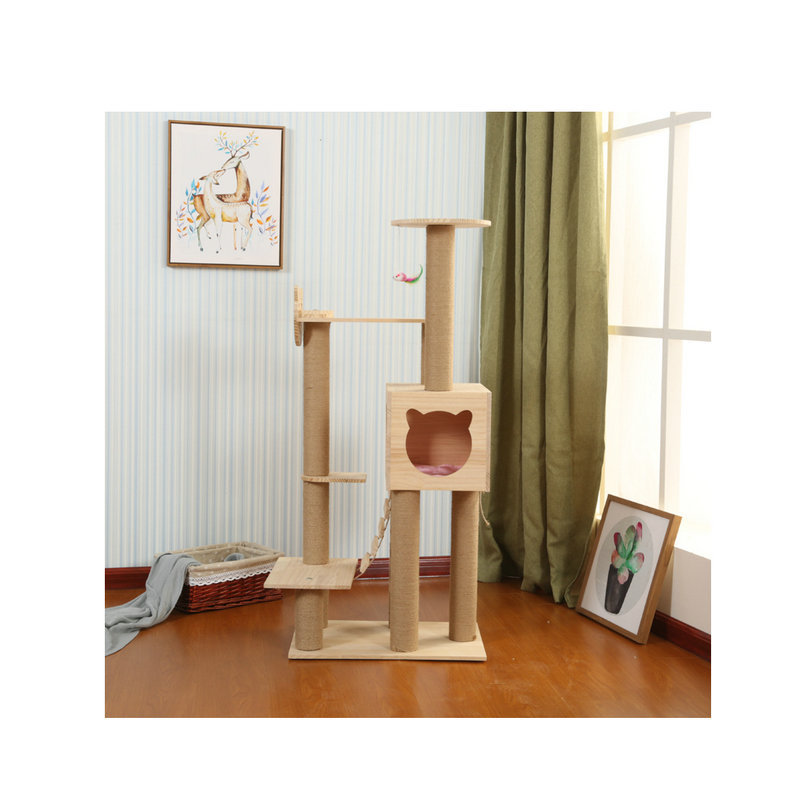 Manufacturers Direct Selling Solid Wood Cat Climbing Frame Cat Supplies Cat Scratching Board Cat Tree Cat Nest Solid Wood Shelf