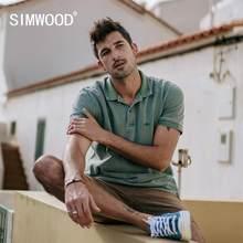SIMWOOD-polo estético vintage para hombre, ropa gruesa teñida de algodón de 100%, 220g, de talla grande, novedad de verano 2021, SJ130115