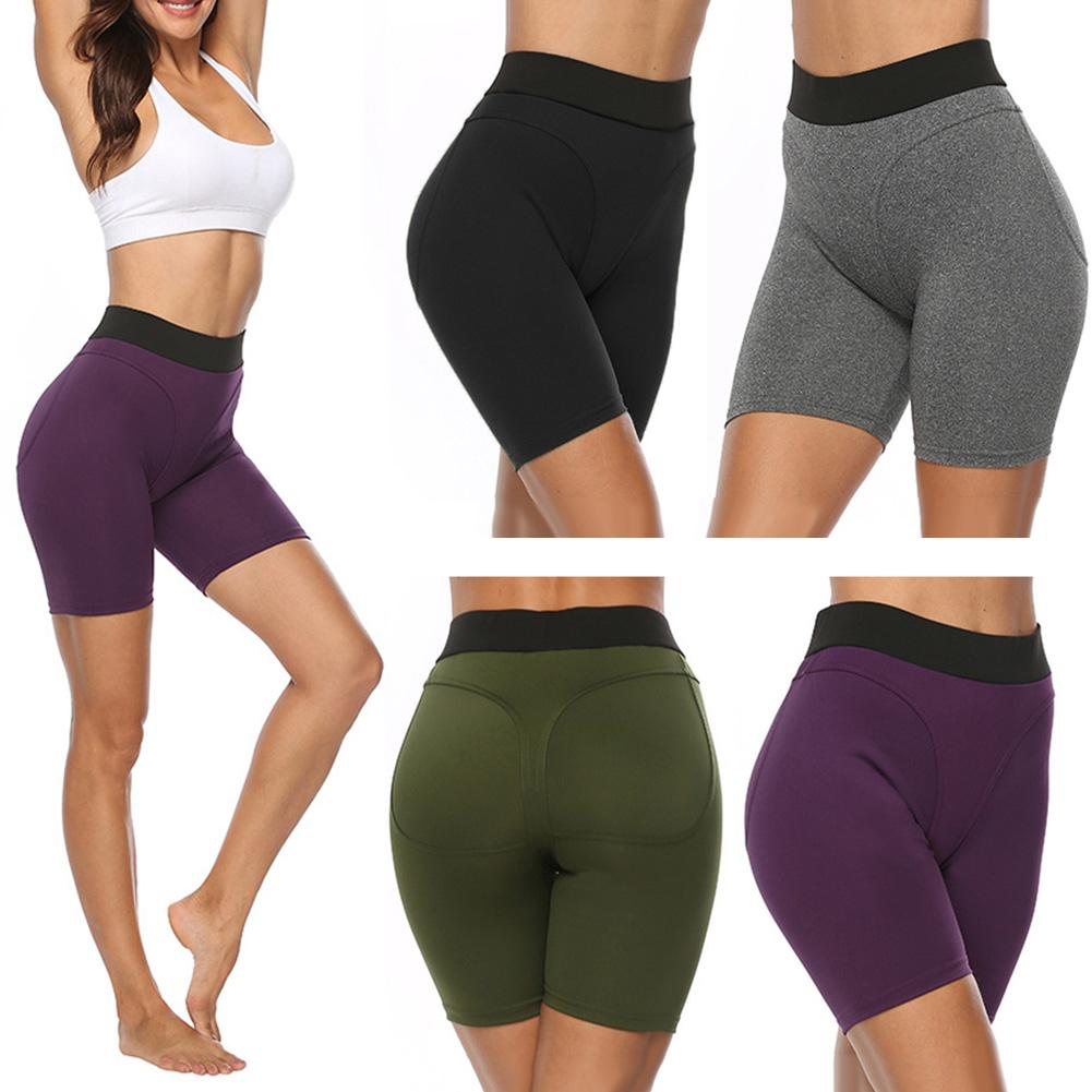 Women Active Mid Thigh Stretch High Waist Cycling Shorts Ladies Sport Wear Fitness Leggings Bicycles Workout Sweatpants