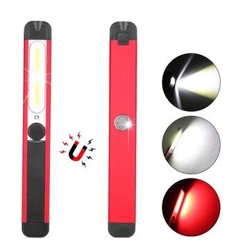 цена на Portable LED Work Lamp COB Work Light USB Rechargeable Magnetic Flashlight Inspection Light with Warning Light Red White Light