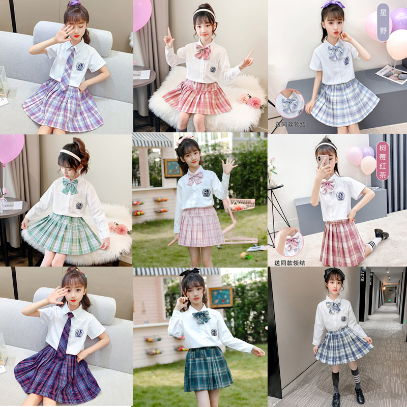 Kids vintage pleated skirt for girl plaid cotton skirts school clothes spring autumn teenager girl skirt children clothing 3-14Y