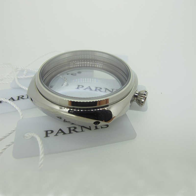 45mm מלוטש PVD כיכר נירוסטה שעון מקרה עבור UNITAS ETA 6497 6498 ST3600 3620 תנועה עם מינרלים קריסטל זכוכית