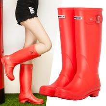 Damlama orijinal uzun boylu yağmur çizmeleri kadın su geçirmez Wellies kızlar Wellington çizmeler yüksek diz botları