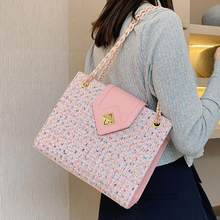 Grand fourre-tout carré élégant pour femmes, sac à main en laine de bonne qualité de styliste, sacoche à épaule avec chaîne, nouvelle collection 2020