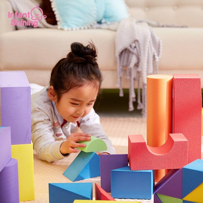 Infant Shining Building Blocks Baby Big Blocks Educational Toys Large for Children EVA 50PCS Pretend Play Game Foam Toys