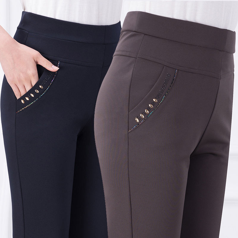 MISSMEOW Women's Pants Winter Women Pants Women High Waist Pants  Plus Size Casual Pencil Elastic Force Candy Women's Trousers