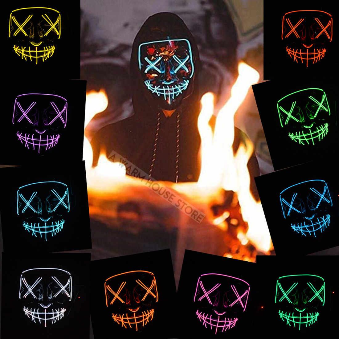 هالوين قناع LED أقنعة تنكرية للحفلات الرعب قناع النيون حزب الماسكارا تأثيري مخيف المقنع متوهجة Mascarillas الجمجمة Maski كرنفال V